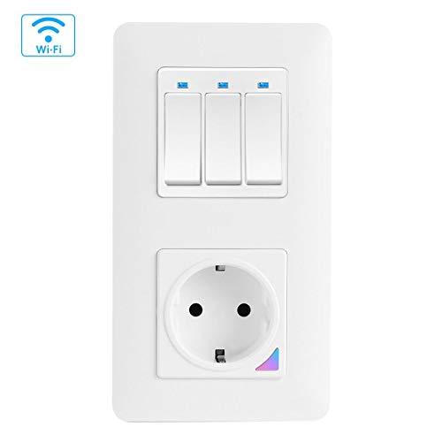Teekar WLAN Alexa lichtschakelaar met wifi smart stopcontact inbouw, fysische toetsschakelaar, compatibel met Alexa, Google Home en Smart-Life, timerfunctie en app-afstandsbediening, magnetisch frame