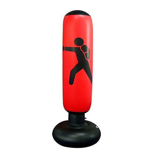 Saco de Boxeo Inflable, Saco de Boxeo de Pie,Tumbler de Boxeo, Entrenamiento físico Juguetes, Equipo para Aliviar la Presión, Saco Inflable para Practicar Karate, Taekwondo para Adultos Ni?os (Rojo)