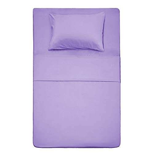 Twin Size Bed Sheet Set - 3 Piece (Lavender) 1 Flat Sheet,1 Fitted Sheet and 1 Pillow Cases,100% Brushed Microfiber 1800 Luxury Bedding,Deep Pockets,Extra Soft & Fade Resistant by Best Season