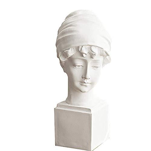 Mnjin Decoración del hogar Chica Busto Escultura, Diosa Estatua Busto Arte de Escritorio Estatua Decoración Estilo británico Cabeza Femenina Artesanías de Resina casera
