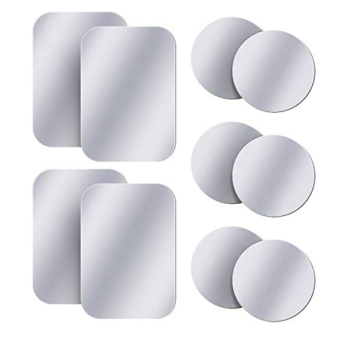 AMIGIK 10 Pack Metallplatte für Handyhalterung Auto Magnet, Ultradünne Mentale Aufkleber mit Klebstoff für Magnethalter Handy Auto (6 Runden & 4 Rechteckig-Silber)
