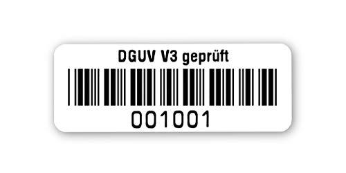 Prüfetiketten DGUV V3 geprüft, 40x15mm, hochglänzend weiß, fertig bedruckt mit 6-stelligem fortlaufendem Barcode 39 ohne Prüfziffer für alle gängigen Prüfgeräte. Nummernkreis 001 001.002 000