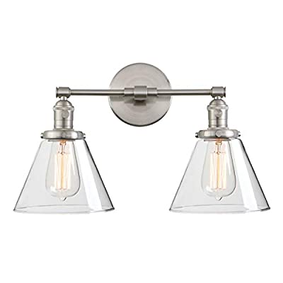 """Phansthy Double Sconce 2 Lights Wall Sconce Light with 7.3"""" Cone Glass Canopy"""