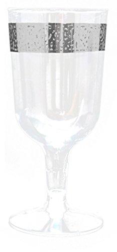 Decorline-Stoviglie plastica Deluxe- per Feste Decorate-Party -Piatti di plastica Bianco USA e Getta con Bordo del Merletto in Argento- Inspiration Collection (Bicchiere di Vino 180ml)
