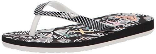Roxy Girls' RG Pebbles Flip Flop Sandal, Black Multi, 4 M US