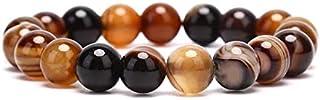 Men bracelet with carnelian stones for the sacral chakra Natural Round Gem Stone Agates women Men Bracelets Bangle Brown S...