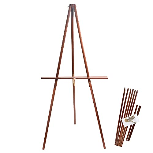 CONDA 64' Wooden Tripod Display Floor Easel, A-Frame Easel Stand with Adjustable Tray, Display Artist Easel for Paintings, Drawings, Signs, Framed Photos(Brown)