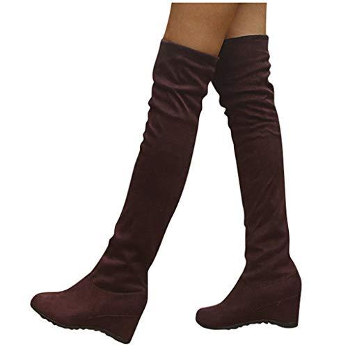 Overknee Stiefel Damen Sockenstiefel Winterstiefel mit Blockabsatz, Frauen Sockenstiefel High Heels Lang Boots Elegante Schuhe Bequem Winter Warme Damenschuhe Celucke (Braun, 38 EU)