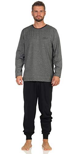Sam Langer Schlafanzug weicher Warmer Pyjama Grösse 52/Large, Anthra-weiß gestreift - Hose schwarz