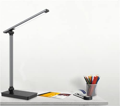 Leelike Lámpara de escritorio LED, Flexo Escritorio LED regulable, 5 colores y 5 niveles de brillo, protección ocular, control táctil, con función de temporización, con cargador inalámbrico