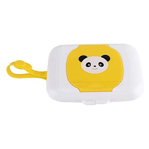 Yuyanshop Caja de almacenamiento para toallitas húmedas, caja de toallitas húmedas para bebé al aire libre, contenedor recargable para coche, baño, sala de estar (blanco + amarillo)