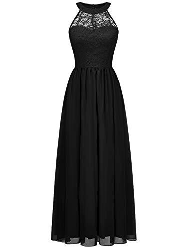 Wedtrend Ballkleid Lang Abendkleider Elegant für Hochzeit Damen Spitzenkleid Brautjungfer Kleid Cocktailkleid Schwarz 0201 Black L