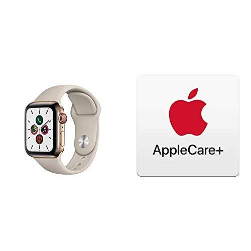 Apple Watch Series 5 (GPS+Cellular, 40 mm) Edelstahlgehäuse Gold - Sportarmband Stein mit AppleCare+