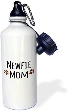 'Newfie Dog Mom-Newfoundland Doggie by breed-muddy marrón huella de pata perro amante de mascotas dueño de mamá' blanco de aluminio botella de agua divertida novedad botella de agua con pajita para gimnasio camping regalos
