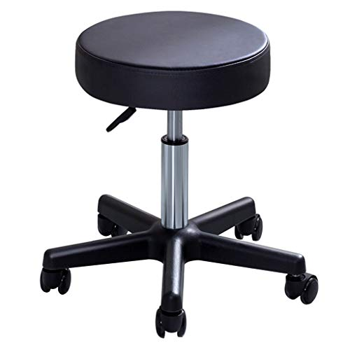 LIYONG Rolling Bar Stools, Adjustable and Rotatable Cushioned Pneumatic Work Stool Medical Spa Stool Massage Work Tattoo Salon Office Kitchen 45-61cm