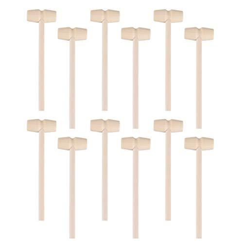 NUOBESTY 12 piezas mini mazos de madera juguete DIY artesanía juguetes langosta mariscos galletas de cangrejo de madera mazos de fiesta favores para niños 140 x 42 mm