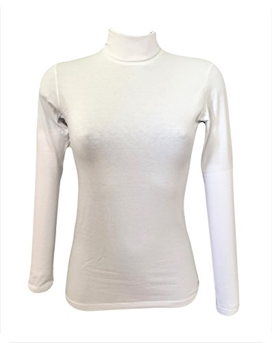 JADEA Dolcevita Donna Manica Lunga Colore Bianco in Cotone Elasticizzato. (M/L, Bianco)