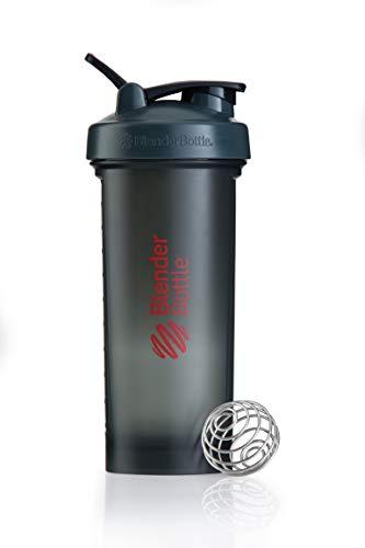 BlenderBottle Pro45 Shaker mit BlenderBall, optimal geeignet als Eiweiß Shaker, Protein Shaker, Wasserflasche, Trinkflasche, BPA frei, skaliert bis 1000 ml, Kapazität 1300ml, grau rot