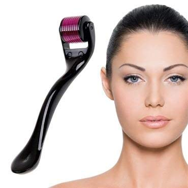 DRS Dermaroller Microneedling, dermaroller for face care and body with 540 0.5mm titanium microneedles - effective for anti-wrinkle, stretch marks, large pores and blemishes.