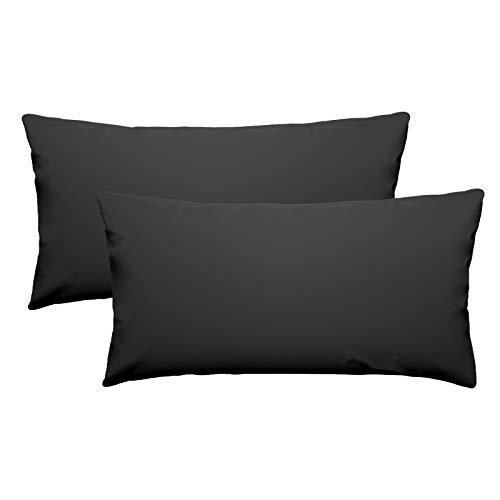 eletecpro - Funda de almohada de 100% microfibra con cierre de hotel, funda de almohada súper suave, color resistente, hipoalergénica 40 x 80 cm, 2 unidades color negro
