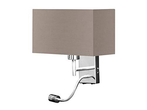 Honsel Applique murale LED avec lampe de lecture et abat-jour en tissu Marron – Lampe de lecture avec bras mobile flexible orientable