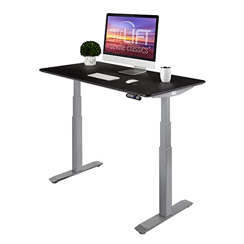Seville Classics AIRLIFT Pro S3 54' Solid-Top Commercial-Grade Electric Adjustable Standing Desk (51.4' Max Height) Table - Gray/Black