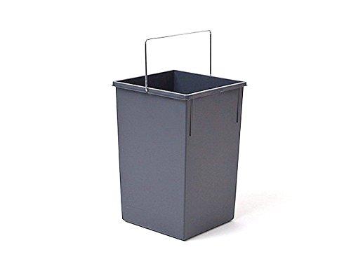 Hailo Inneneimer 15 Liter Kunststoff dunkelgrau mit Henkel verchromt Abfallsammler, Plastik, 35 x 23 x 22 cm