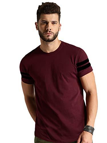 TRENDS TOWER Bio Wash Men Half Sleeve Maroon Color Round Neck T-Shirts
