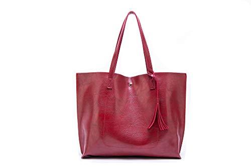 Nodykka Women Tote Bags Top Handle Satchel Handbags PU Pebbled Leather Tassel Shoulder Purse,One Size,Wax Red