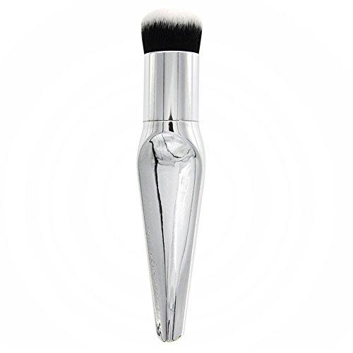 Gespout Pinceau de Maquillage Professionnel pour Visage Nylon Poignée en Plastique Fond de Teint Poudre Blush Facile à transporter(Blanc)