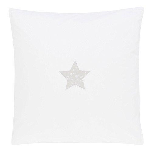 babybay Housse Couverture pour Bébé Blanc avec Application Étoile Gris Perle 80 x 80 cm 1 Unité