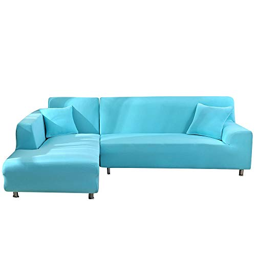 Cubre Sofas Chaise Longue,Funda de sofá de 2 Piezas en Forma de L en Esquina, sección de Sala de Estar Chaise Longue-Light Blue_3seater y 4 plazas,Cubre Sofa Chaise Longue Brazo Derecho