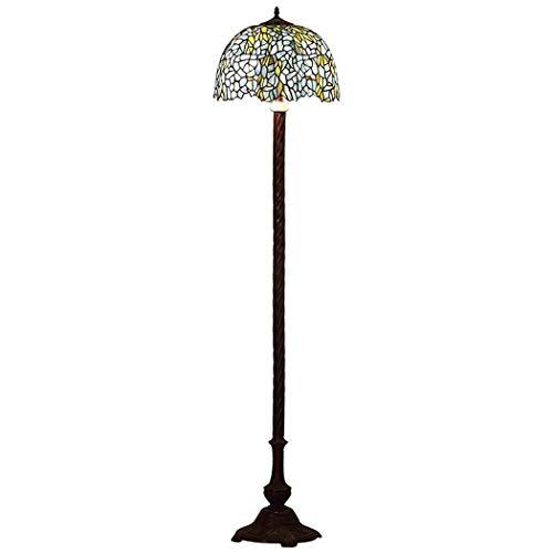 DSHBB vloerverlichting, 16 inch Wisteria bloem Tiffany stijl vloerlamp met gestopte glazen lampenkap, modern standing licht voor woonkamer en slaapkamer, E27 * 2 40W
