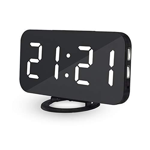 Digitaler Wecker Spiegel Wecker, USB Wiederaufladbarer Reisewecker, Tischuhr Spiegelalarm mit Dimmer-Modus, tragbarer Spiegelalarm mit Snooze, 12/24HR (Black)