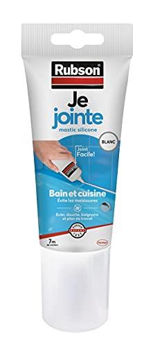 Rubson Je Jointe Mastic Blanc 150 ml, mastic étanche anti-moisissure en tube prêt à l'emploi, mastic silicone durable pour joints sanitaires spécial Bain & Cuisine