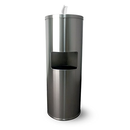 Floor Stand Gym Wipe Dispenser, Stainless Steel Wipe Dispenser with High Capacity Built-in Trash Can and Back Door Access