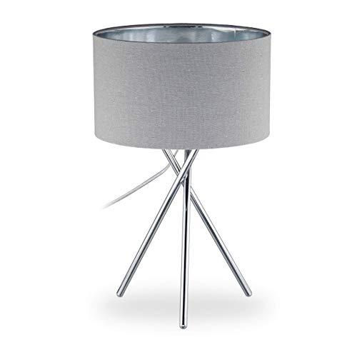 Relaxdays Dreibein Lampe, Dekolampe mit Schalter, E14, indirektes Licht, Wohnzimmer, Tischlampe HBT: 46x29x29 cm, grau