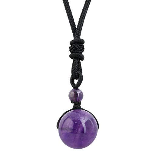 mookaitedecor Glücklicher Segen Chakra Perlen poliert Stein Halsketten mit Anhänger für Unisex, heilende Kristalle Stein Anhänger mit Kette verstellbar