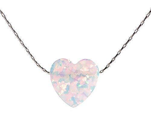 Corazón de ópalo blanco Collar Plata esterlina Cable Longitud del ca