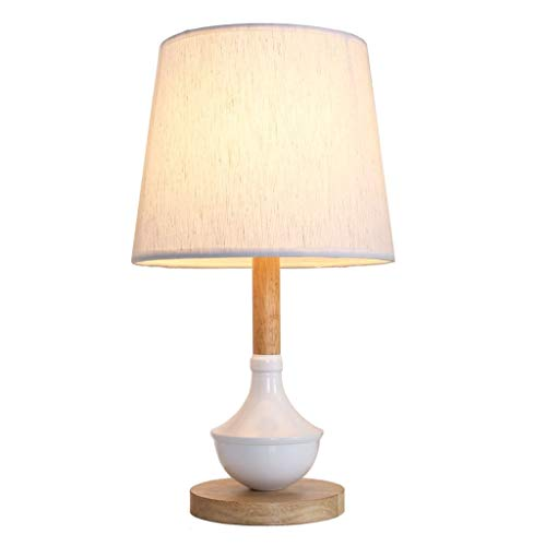 Ceramic Table Lamp Ceramic Wooden Base Dimmable Bedside Lamp Modern Desk Lamp with White Fabric Shade