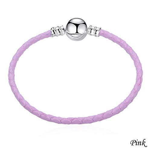Pulsera Brazalete, Joyeria Regalo, Multicolo Double Braided Chain & Link Bracelets Compatible DIY Beads Fit Pan Bracelet Leather Charm Bracelets For Women Pink 18cm