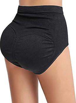 Women Pads Underwear Butt Lifter Padded Panties High Waist Hip Enhancer Shapewear Tummy Control Briefs Seamless  Black S/M