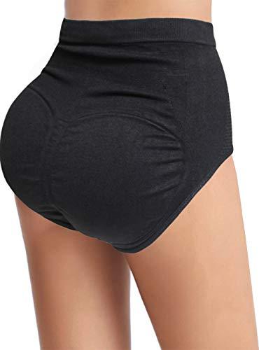 Women Pads Underwear Butt Lifter Padded Panties High Waist Hip Enhancer Shapewear Tummy Control Briefs Seamless (Black, L/XL)