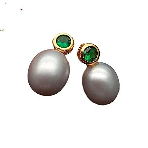 YANXIA Pendientes Vintage para Mujer Pendientes Colgantes de Perlas Grises para Mujer Boda Bonitos Pendientes Decorativos Simples y Elegantes