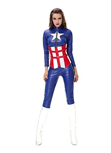 Sexy Superheldin-Kostüm AMERICAN HERO Held Heldin Comic- DE: M (Asia Größe: XL), Blau/Rot/Weiß