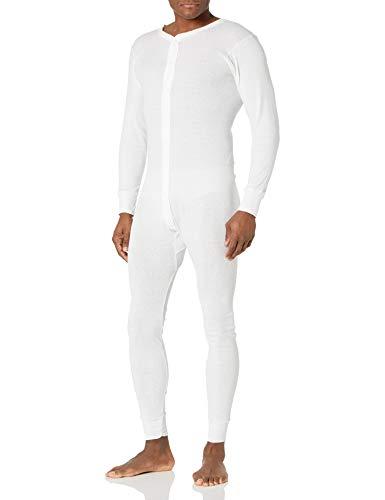 Indera Men's Cotton 1 x 1 Rib Union Suit, White, Small