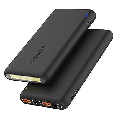 4USB Portable Charger 30000mAh + Super Bright Flashlight Quick Charge Phones USB Power Banks (Black_30000mAh_)