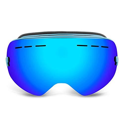AUEDC Skibrille, Männer und Frauen OTG Skibrille Neuester Ski Brillen Snowboardbrillen UV400 Anti-Fog-windundurchlässige für Skihelm Kompatibel,Blau