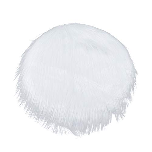 AUEAR, Faux Fur Sheepskin Chair Cover Seat Cushion Soft Small Area Round Fluffy Carpet for Living Room Bedroom Sofa Decor Carpet (12 Inch, White Color, 2 Pcs)