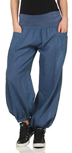 Malito Damen Stoffhose leicht | Pumphose zum Tanzen | Freizeithose zum Chillen | Haremshose - Sommerhose 17633 (Jeansblau)